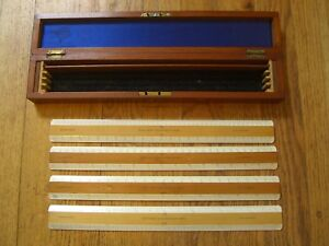 Antique John Davis & Son Derby Engine Divided Engineers Ruler Set (4) w/ Box