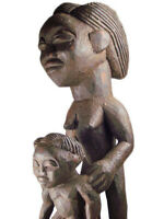 Afrika Chokwe Mutter Kind Figur Angola Tribal Art Kunst Stammeskunst
