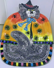 Fitz & Floyd Halloween Cat Witches Canape Plate Platter Tray Spiders Gray /1