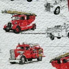 FIRE TRUCK 5pc TWIN QUILT PILLOW SHAM FIRE TRUCKS Firetruck Firetrucks