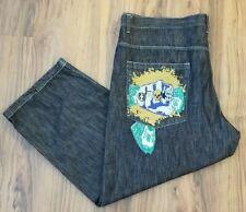 Risk Jeans Co. Mens 50x32 Blue Jeans Embroidered Fist Skull Cash Baggy Skater