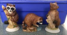 """3pcs  5"""" Forest Animals c1980's Hand Painted by Andrea by Sandek  MAKE AN OFFER"""