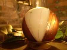 LUXURY GERMAN CHRISTMAS DIAMANTE COPPER,CREAM BALL CANDLE + CANDLE STAND