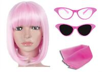 LADIES PINK GLASSES SHORT BOB WIG AND PINK NECK SCARF 1950S HEN FANCY DRESS