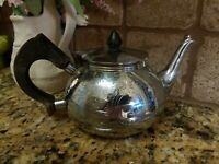 Antique Silver Teapot With Wooden Handle