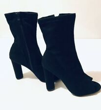 Forever 21 Black Ankle Boots Open Toe Womens High Heel Shoes Boxed
