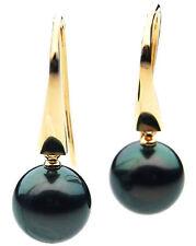 $5,299 Pacific Pearls® AAA 13mm Tahitian Black Pearl Earrings