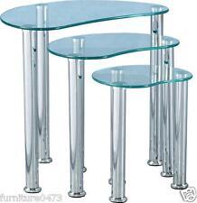 Clear Glass / Silver Nest Of Tables (Set Of 3) L52.5cm x D39.5cm x H48cm CARLA