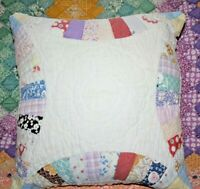 Throw Pillow Vintage 1930's Wedding Ring Very Densely Hand Quilted Quilt #2