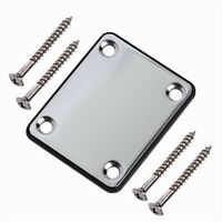 Electric Guitar Neck Plate With 4 Screws & One Rubbermat Chrome