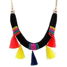 Necklace Pendant Bib Jewelry Alloy Beads Tassel Rope Multi-Color Lady Girl