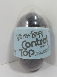 Vintage Winter Leggs Control Top CHARCOAL Gray Warm Ribbed Pantyhose Size B