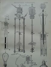 ANTIQUE PRINT C1870'S ELECTRIC LIGHTING ENGRAVING ILLUSTRATED ELECTRICITY ART