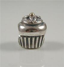 Authentic Genuine Pandora Silver 14k Gold Cup Cake Charm Bead 790417