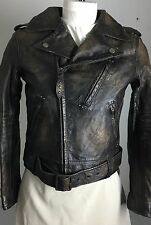 RRL Double RL Ralph Lauren Leather Jacket Coat Womens 1 Brown Biker Eagle New