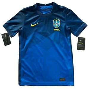 Nike Unisex Youth size L Brazil CBF Soccer 2020/21 Stadium Home Blue Jersey NWT