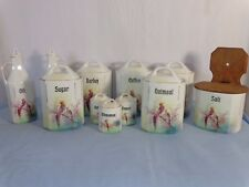 11 Piece Germany Porcelain Lustre Exotic Bird Kitchen Canister Set