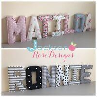 Fabric Padded letters Wall Art Handmade Nursery name, personalised, girl, boy