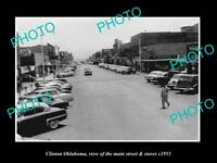 OLD LARGE HISTORIC PHOTO OF CLINTON OKLAHOMA, THE MAIN STREET & STORES c1955