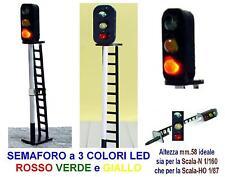SEMAFORO SIGNAL mm.58H 12V 3 COLORI LED VERDE ROSSO e GIALLO SCALA-N e SCALA-HO
