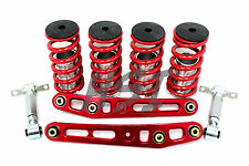 Honda Civic EK EM Adjustable Coilovers Lower Control Arm Rear Camber Bar Kit Red