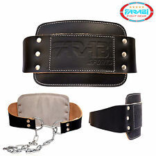 Dipping Belt Weight Lifting Heavy Training Workout Natural Leather with Chain