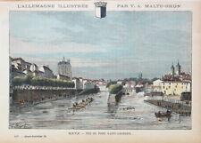 Metz, Port Saint-Georges. Handkolorierter Stich um 1885, Malte-Brun