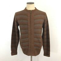 Vintage 70s 80s Mens M Cardigan Sweater Full Zip Space Dye Acrylic Hanson Brown