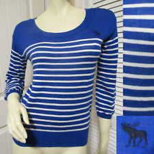 Abercrombie And Fitch A&F Womens Cashmere Sweater Top Shirt Blue White Striped