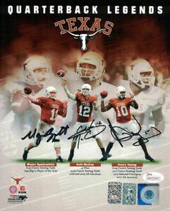 Texas Longhorns Quarterback Legends Signed 8x10 Photo Young +2 JSA 14134 PF