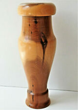 Vintage ornamental wooden vase turned wood Decorative wooden ware 7 inch tall