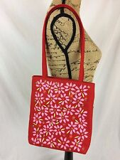 Oilily - Red FELT slim tote, BEADED front w/ pink felt floral applique