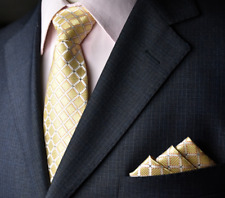 Men's Yellow Check Grid Tie & Hanky Handkerchief Pocket Square Set