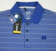 *NWT!* Adidas Golf NOTRE DAME Polo Blue / White Stripe Medium Fits Large