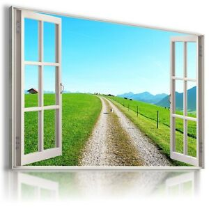 3D GREEN FIELD ROAD Window View Canvas Wall Art Picture Large SIZES W42