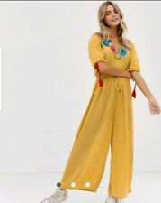 BNWT ASOS Yellow Scallop Edge Embroidered Jumpsuit Size 10 UK/ 38 EU