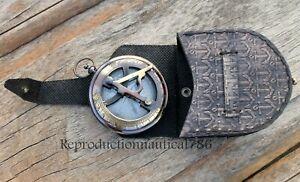 Nautical Brass Pocket Compass Handmade Push Button Sundial Working Compass /Case