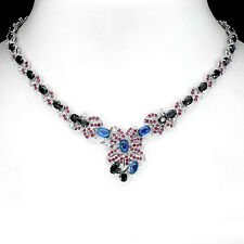 FASCINATING NATURAL SAPPHIRE DIFFUSION,KYANITE,RUBY,TOPAZ 925 SILVER NECKLACE 18