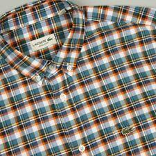 BNWT Lacoste CH6310 Check Shirt Navy 40 M RRP £95 Button Down Collar Regular Fit