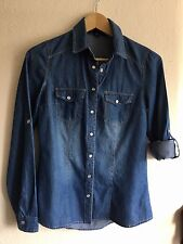 Blue Jean Denim Western Shirt Faded Cowgirl Pearl Snap Front by Iris, Women's S