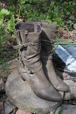 JOANNE MERCER Olive Grey GreenBoots/ High Calf/  Size 8/  9.5 cm Heel