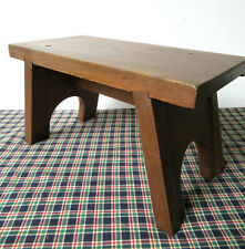 """Vintage Foot Stool Stand Primitive Hardwood 8"""" Tall x 14"""" Long, Country, Nice"""