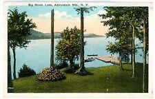 Big Moose NY - DOCK ON THE LAKE AT GLENMORE HOTEL - Postcard Adirondacks