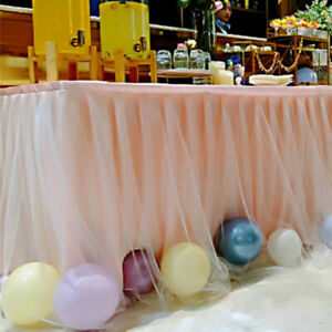 1M Tulle Tutu Table Skirt Cover Baby Shower Home Party Wedding Birthday Decor