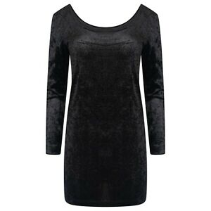 WOMENS/LADIES FASHION CRUSHED VELVET DEEP BACK DRESS