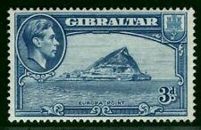 GIBRALTAR KGVI Stamp SG.125 3d Blue Perf 13½ (1938) Mint VLMM Cat £42 LBLUE144