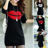 A Line Mini Dresses Womens O-Neck Long Sleeve Lips Print Shirt Dress Loose D TRF