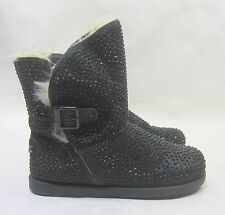 Black/Rhinestone Round Toe Winter Ankle Sexy Boots Size 10
