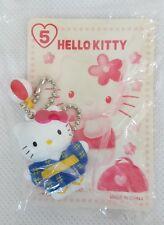 RARE Vintage 1998 Sanrio HELLO KITTY Geisha Girl BLUE KIMONO Keychain Japan NEW