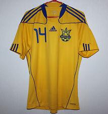 Ukraine National Team match worn shirt 2010 #14 Kobin Adidas Shakhtar vs Romania